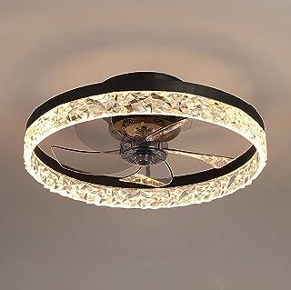 Ceiling Fan with Lights, LED Remote Control 3-Color Lighting 3 Wind speeds, Invisible Blades Flush Mount Ceiling Light, En...