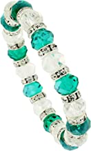Sabrina Silver 7 in. Clear & Emerald Color Faceted Glass Crystal Bracelet on Elastic Nylon Strand, 3/8 in. (10mm) Wide