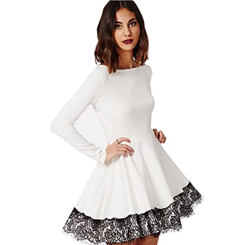 71db6c6e1bbd8 Blooming Jelly Women's Long Sleeve Cute White Lace Prom Cocktail Dress