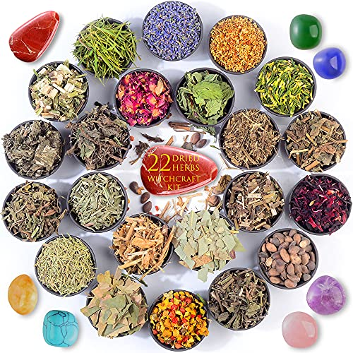 Dried Herbs for Witchcraft Supplies - 22 Witch Herbs Kit for Wicca, Pagan and Magic Spells,Altar...