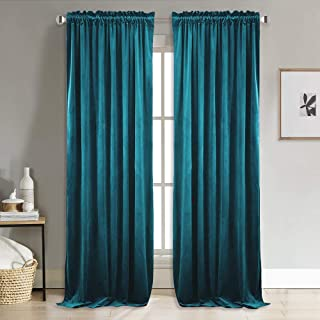 NICETOWN Room Darkening Velvet Panels - Rod Pocket Privacy Enhancing Light Control Curtains for Guest Room, Hall (Peacock Blue, 2 Panels, 96 inches Length)