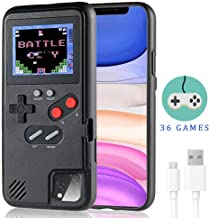 Dikkar Gameboy Case for iPhone, Retro Protective Cover Self-Powered Case with 36 Small Game,Full Color Display,Video Game Case for iPhone X/Xs/MAX/Xr/6/7/8&Plus/11 (Black, iPhone 11 Pro Max)