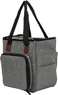 Sac fourre-tout à tricoter Organisateur de stockage portable pour les fils Crochet Crochets Boîte de rangement gris