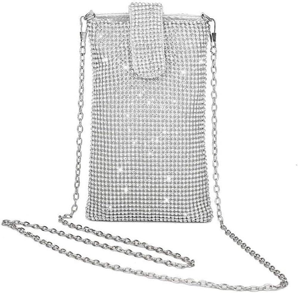 HappyERA Bling Rhinestone Evening Handbag Cell Phone Purse Wallet Clutch Crossbody Bag