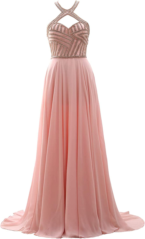 MACloth Women Halter Beaded Long Prom Dress Open Back Formal Evening Gown
