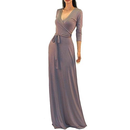 aa05158c4d4d4b Vivicastle Women s USA Solid V-Neck 3 4 Sleeve Faux Wrap Waist Long Maxi