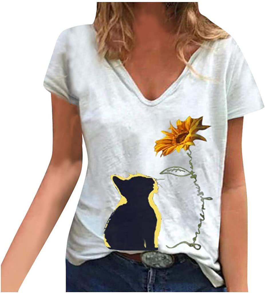 Tupenty Women Shirts Sunflower Cat Printed V Neck Summer T Shirts Casual Short Sleeve Tops Blouses Loose Graphic Tee Top