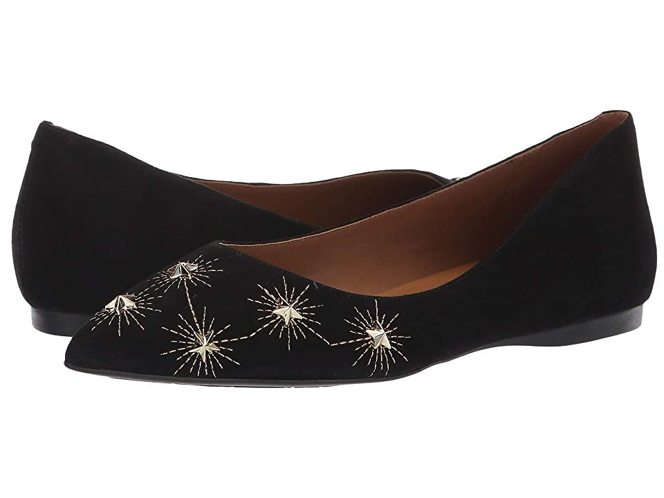 French Sole Cunning Flat (Black Suede) Women