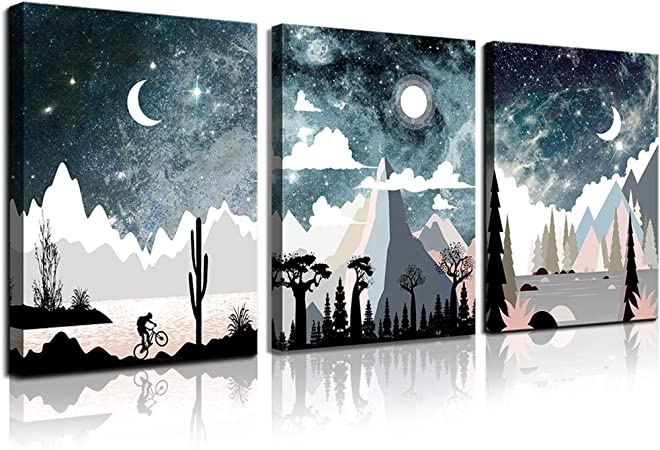 Amazon Com Wall Art For Bedroom Landscape Painting Outer Space Starlight Canvas Prints Star Sky Pictures Astronomy Artwork Bathroom Wall Decor Abstract Scenery Sunset For Office Living Room Home Deco Posters Prints