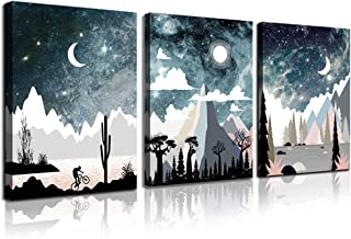 CANVASZON Wall Art for Bedroom Landscape Painting Outer Space Starlight Canvas Prints Star Sky...