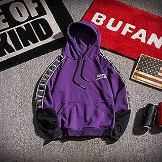 JXSHQS Autumn New Trend Men's Casual Sports Hooded Sweater Men's Long Sleeve Sweater (Color : Purple, Size : XXXL)