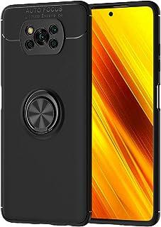 جراب Ranyi لهاتف Xiaomi Poco X3 NFC ، جراب رفيع من ألياف الكربون مع حامل دائري 360 درجة، يتميز بمسند من السيليكون الممتص ل...