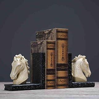 TLMYDD Livre tête de Cheval créatif par bookend Nordique Livre rétro bibliothèque Stand décoration Armoire décoration Orne...