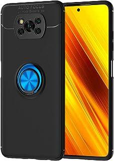 جراب Ranyi لهاتف Xiaomi Poco X3 Pro/Poco X3 NFC ، جراب رفيع من ألياف الكربون مع حامل دائري 360 درجة دوار حامل حامل حامل من...