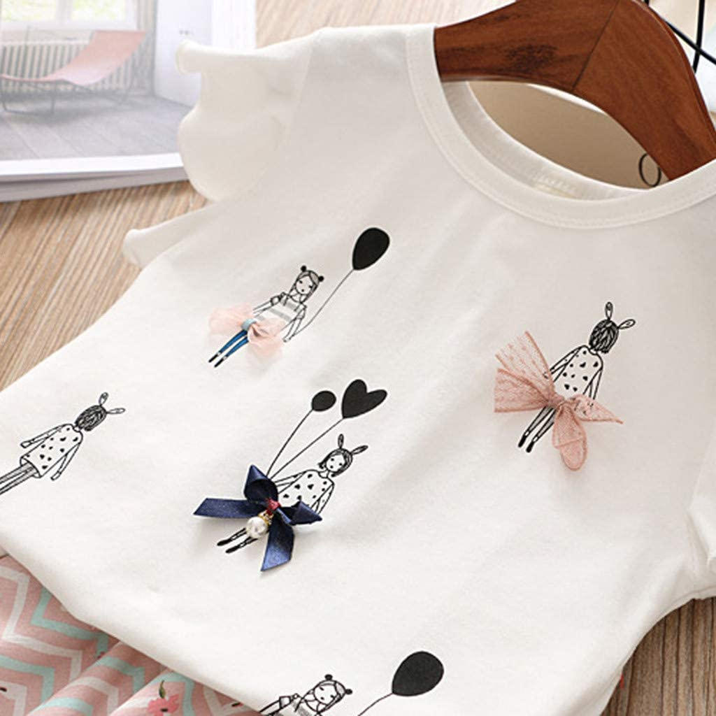 Womola Summer Toddler Baby Girls Outfits Clothes Cartoon T Shirt Bowknot waves Print Shorts Pants Set Cotton Birthday
