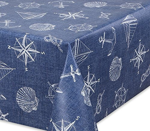 Premium Wachstuch LFGB Tischdecke für Garten und Küche, abwischbar, glatt Jeans Anker, Größe wählbar (160 x 140 cm)