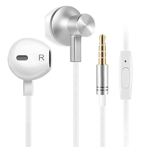 Auriculares In-Ear auriculares con microfono, auriculares cable, Cancelación de Ruido (Blanco