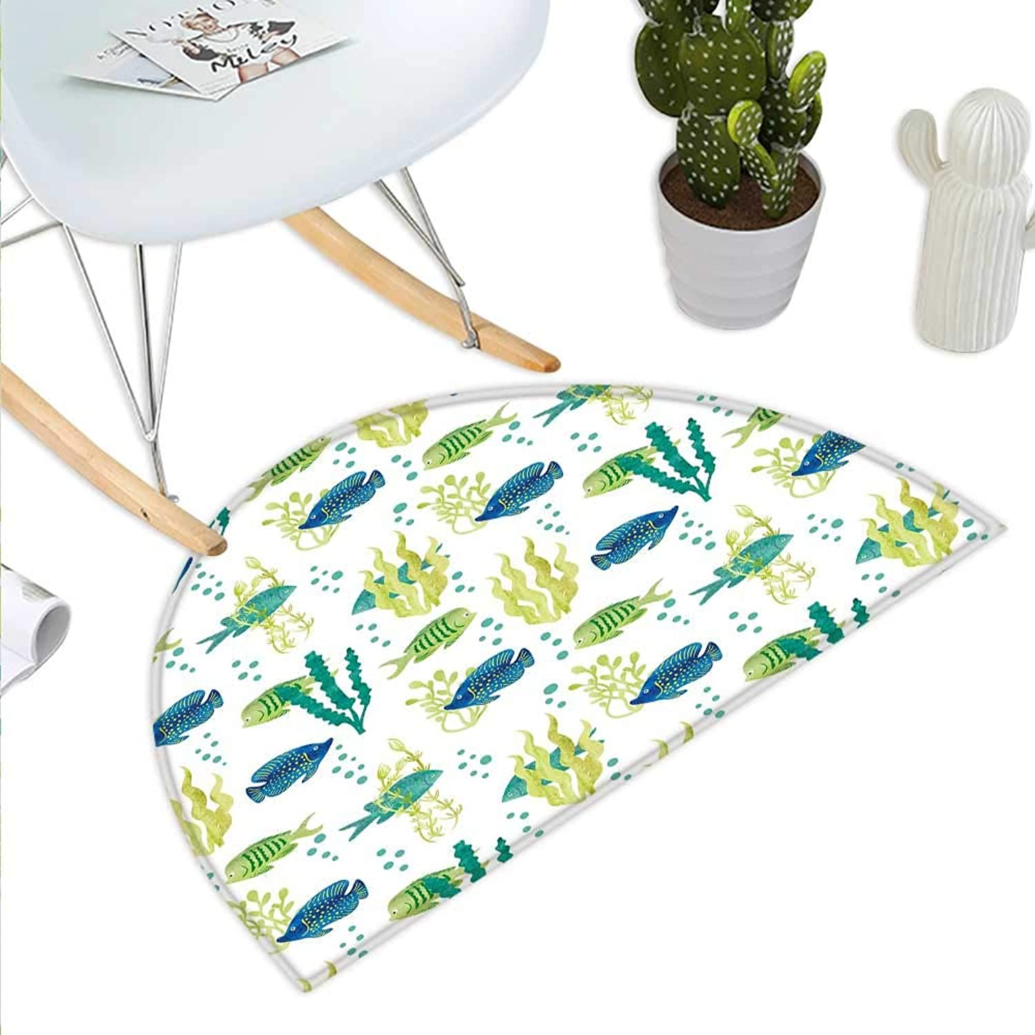 Aquarium Semicircular CushionDifferent Tropical Fish and Seaweeds Exotic Marine Watercolor Artwork Entry Door Mat H 31.5  xD 47.2  Avocado Green Teal bluee