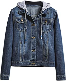 Womens Coat Long Sleeved Hooded Jacket Fake Two Piece Stitching Denim Jacket Retro Jacket Pockets