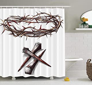 Watercolor-Jesus Fabric Shower Curtain, 72x78 inches Crown Thorns with Nails Jesus Christ Way Cross Abstract AntiqueWaterproof Bathroom Shower Curtains Set of 12 Hooks, Crown Thorns Nails