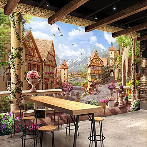 Behang fotobehang retro sprookjes in Europese stijl stad gebouw fotobehang voor muren 3D restaurant cafe achtergrond wand 400 * 280 cm
