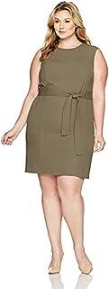 Nine West Women's Plus Size Self Belt Dress-Loden