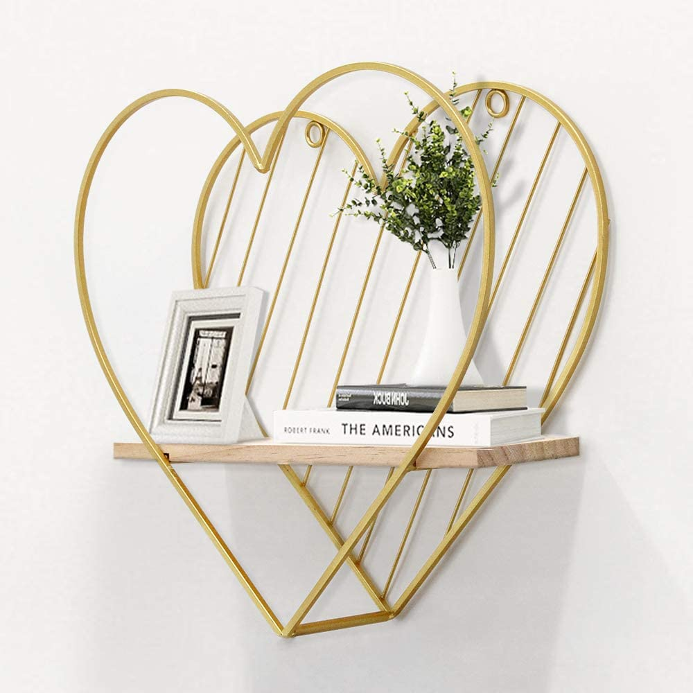 Afuly Gold Special price for a limited time Wall Shelf Metal Heart Cute Attention brand Shelves W Floating Modern