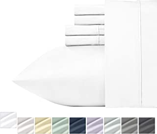400-Thread-Count Queen Size Sheet Set - 100% Long Staple Combed Cotton 6 Piece Bedding Set, Pure White Sateen Weave Bed Sheets, Comfortable Deep Pocket Fits Mattress Upto 18 Inches
