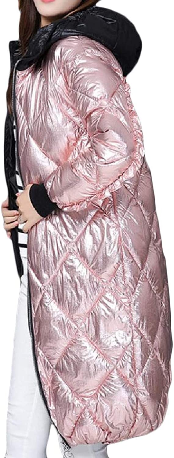 TaoNice Women Shiny Quilted Hooded Overcoat Outwear Quilted Jacket