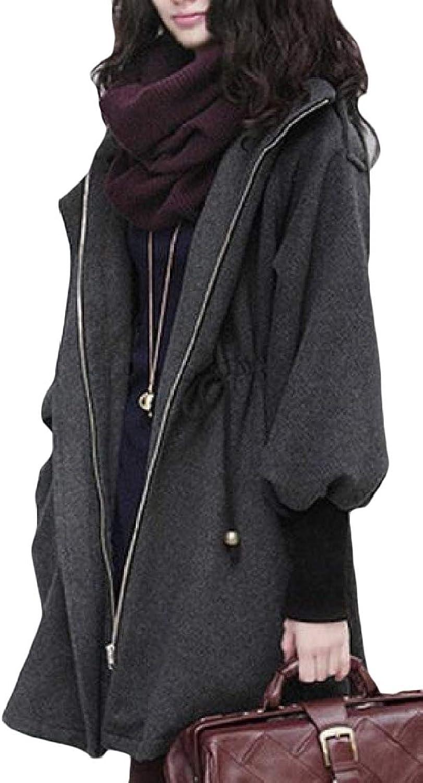 color&W Women Hoodie Zip Mid Long Pocket Smocked Waist Thin Woolen Coat