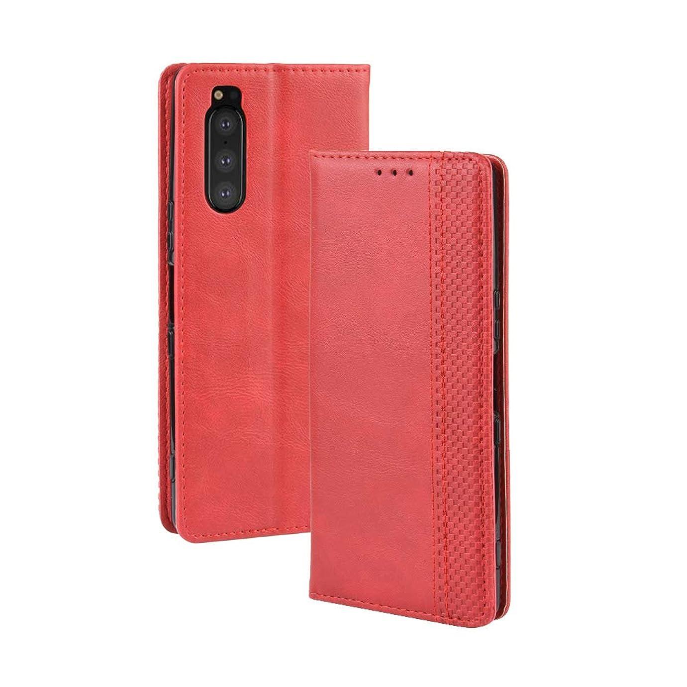 スキャンデッキ春YEZHU Sony Xperia 5 SOV41 手帳型ケース PUレザー 手触り良い 耐衝撃 滑り落ちにくい 指紋防止携帯カバー(Xperia5 レッド)