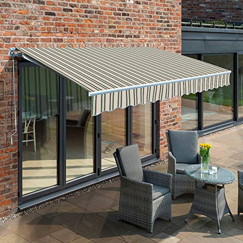 Primrose 2.5m Manual Awning - Multi Stripe Mayfair DIY Patio Awning Gazebo Canopy (8ft 2') Complete with Fittings and Winder Handle