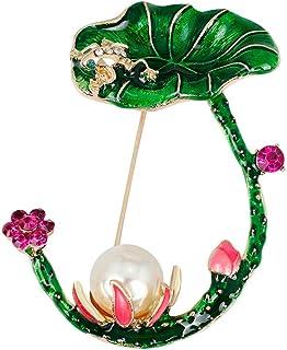 Pulabo Boutonniere flor en forma de diamantes de imitación aleación de perlas mujeres broche ropa decorativa Pin planta in...