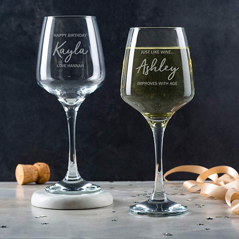 Personalized Wine Glass Unique Wine Gifts For Women Her Mom Birthday Engraved 14Oz Name Goblet With Stem