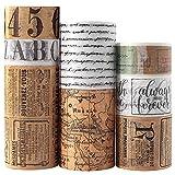 Nastro Adesivo Decorativo, Vintage Washi Tape, Fai-da-Te per Diario, Agenda, Scrapbooking Tape Sticker Set di 8 Rotoli