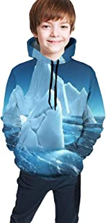 Cyloten Kid's Sweatshirt Glacier Iceberg Hoodie Teen's Thicken Sportswear Fleece Hood for Fall-Winter