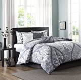 Madison Park Vienna Duvet Cover Full/Queen Size - Grey, Damask Duvet Cover Set – 6 Piece – Cotton Light Weight Bed Comforter Covers