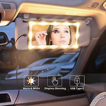 Amazon.co.jp:  車のサンバイザーミラーLEDライト付き自動車メイクアップミラーライト付き化粧品ミラークリップサンバイザー上の化粧鏡クリップバニティミラー自動車メイクアップミラータッチスクリーン付き、3つの照明モード:  ホーム&キッチン
