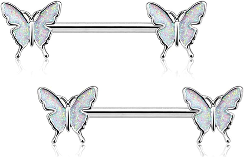 Winwinfly Nipple Barbell 14g Nipple Piercing Butterfly Nipple Jewelry Nipple Ring Bar Body Piercing Jewelry