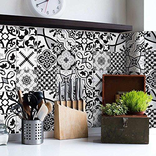 24 (Piezas) Adhesivo para Azulejos 15x15 cm - PS00153 - Zurigo - Adhesivo Decorativo para Azulejos para baño y Cocina - Stickers Azulejos - Collage de Azulejos
