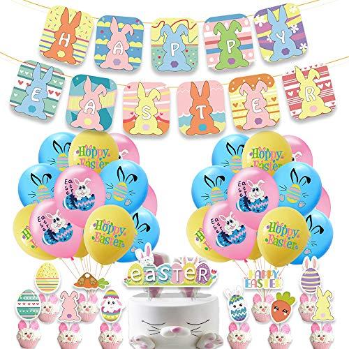 Juego de banderines de globos de fiesta de decoración de Pascua, molde de pastel de conejo de huevo, suministros de decoración de fiesta de Pascua