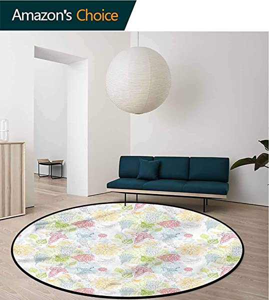 RUGSMAT Spring Machine Washable Round Bath Mat Soft Toned Flowers Birds Circular Area Rugs For Kids Bedroom Diameter 47