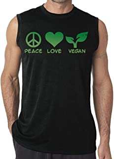 Peace Love Vegan Mens Sleeveless T-Shirt Tank Top Casual Gym Vest tee