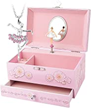 RR ROUND RICH DESIGN Kids Musical Jewelry Box for Girls with Drawer and Jewelry Set with Ballerina Theme - Swan Lake Tune Pink