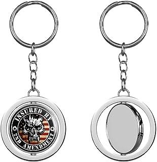 PRS Vinyl Round Insured by 2ND Amendment (Gun Handgun USA Skull) Keychain Spinning Round Chrome Metal Key Chain