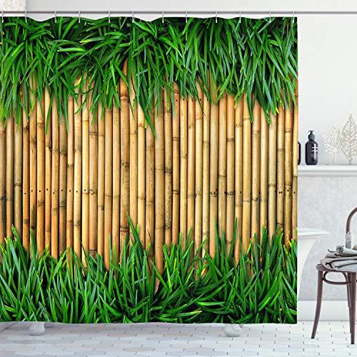 ABAKUHAUS Grün & Brown Duschvorhang, Asian Bamboo, Bakterie Schimmel Resistent inkl. 12 Haken Waschbar Stielvoller Digitaldruck, 175 x 240 cm, Sand Braun Farn Grün