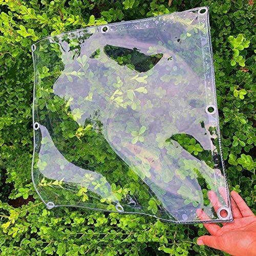 0.3mm Waterproof PVC Plastic Tarp with Eyelets,Plant Cover Transparent Tarpaulin,Transparent Soft Glass Rainproof Cloth,Car Cover,for Veranda,Succulents,Customizable,390g/㎡(1.8x3m/5.9x9.8ft)