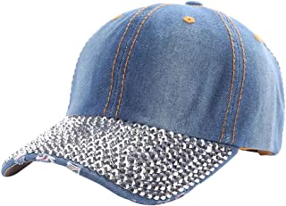 cd1602a0e ZTL Studded Rhinestone Bling Baseball Cap Adjustable Jeans Denim Hat for  Women