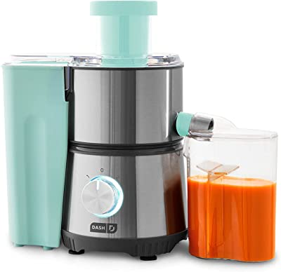 """Dash Compact Centrifugal Juicer, Easy Clean Extractor Press Juicing Machine, 2-Speed, Wide 2"""" Feed Chute for Whole Fruit Vegetable, Anti-drip, Stainless Steel Sieve - Aqua"""