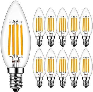 Bombillas Vela de Filamento LED E14, RANBOO, 4W equivalente a 40W, 400 lúmenes, Blanco Cálido 2700K, Bombilla Decorativas, No Regulable, 10 unidades